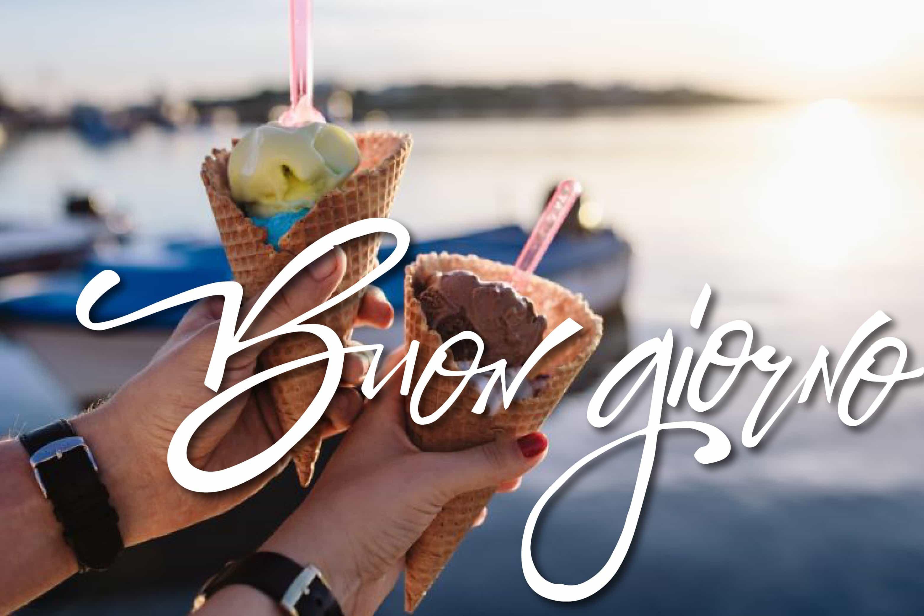 Buon giorno con gelato per bambini