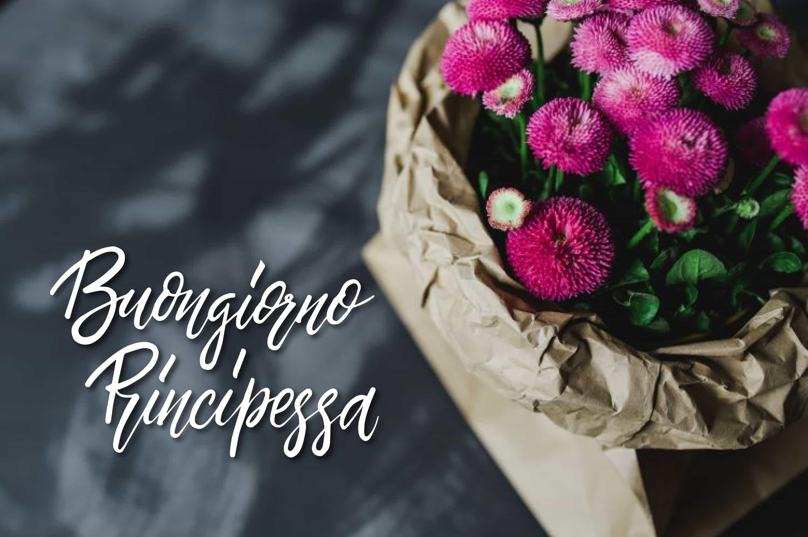 Buongiorno principessa con i fiori foto