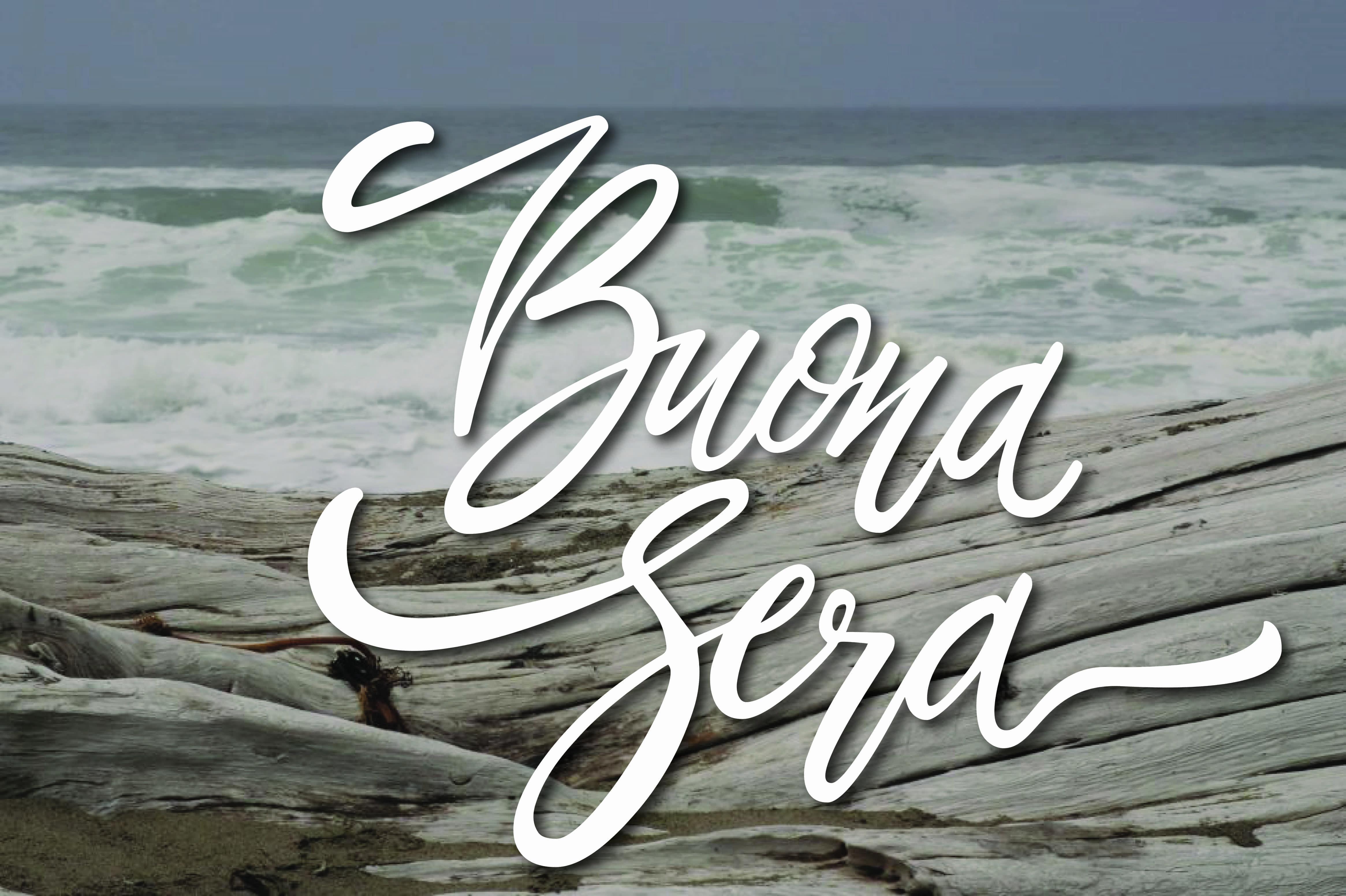 Buona sera con le onde del mare