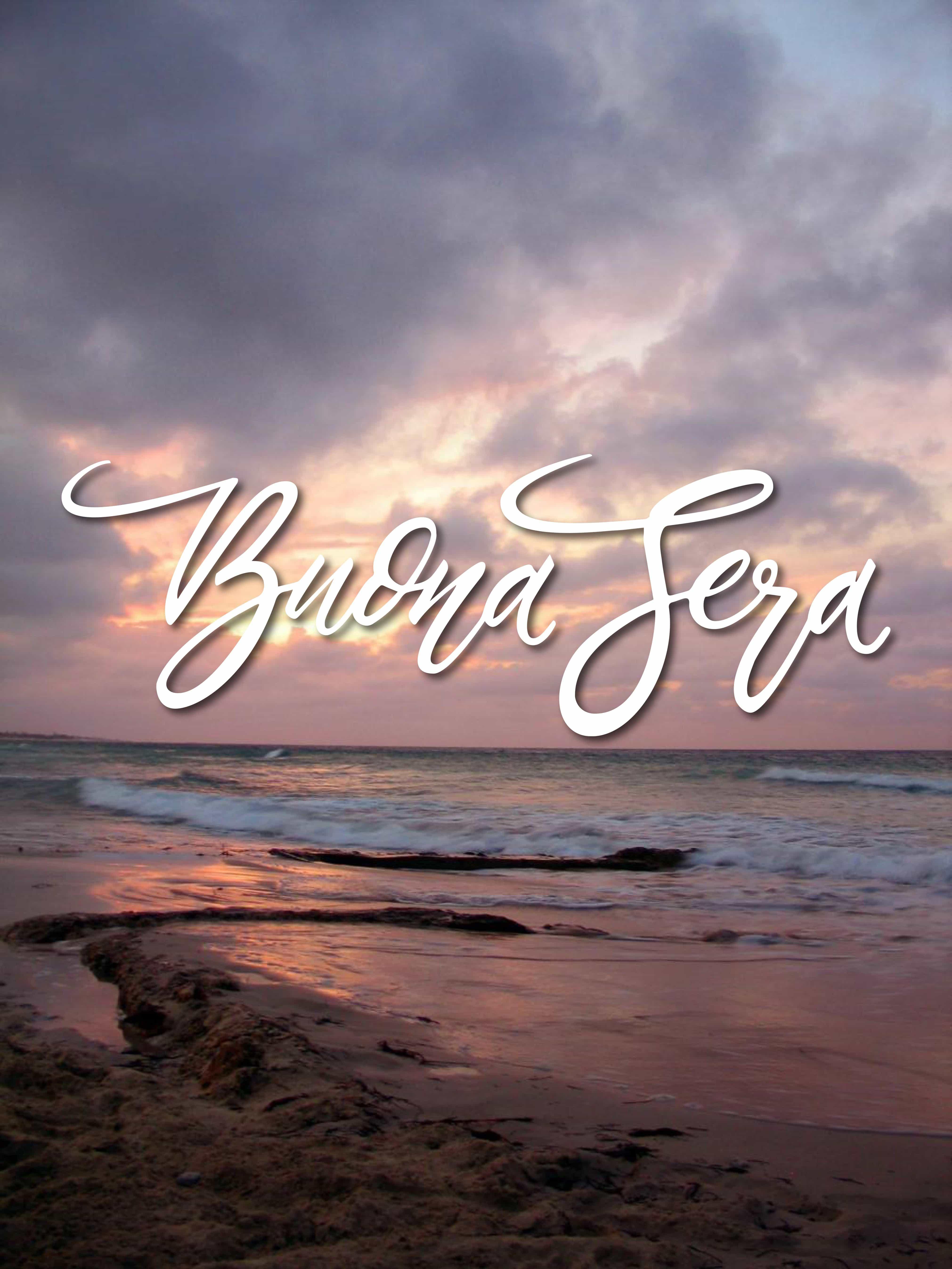 Buona serata con il tramonto sul mare per facebook